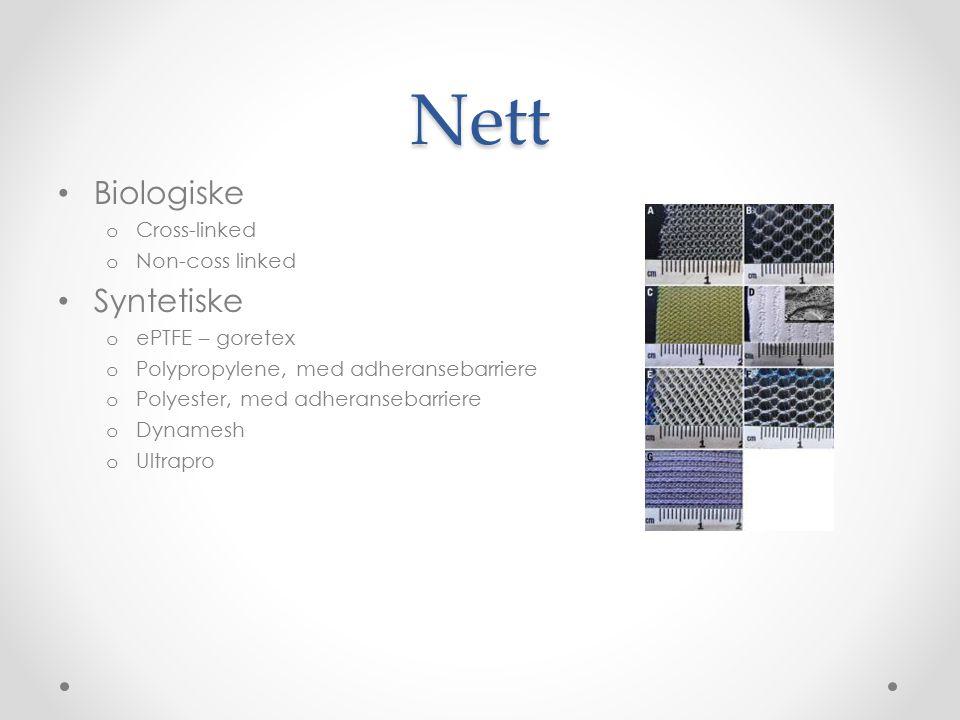 Nett Biologiske o Cross-linked o Non-coss linked Syntetiske o ePTFE – goretex o Polypropylene, med adheransebarriere o Polyester, med adheransebarrier
