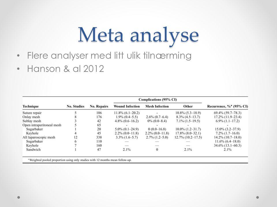 Meta analyse Flere analyser med litt ulik tilnærming Hanson & al 2012