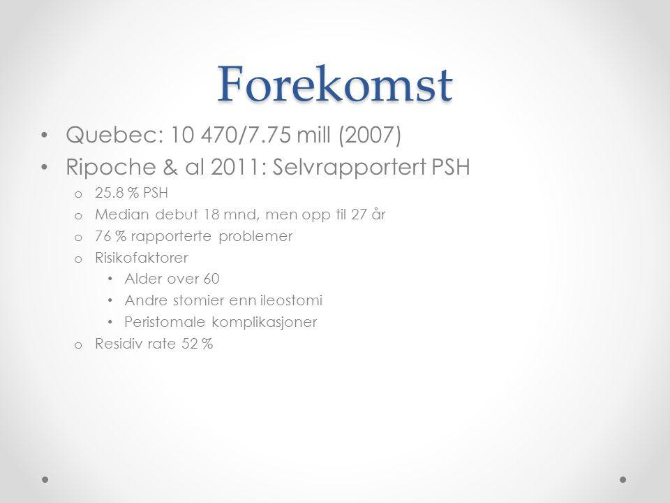 Forekomst Quebec: 10 470/7.75 mill (2007) Ripoche & al 2011: Selvrapportert PSH o 25.8 % PSH o Median debut 18 mnd, men opp til 27 år o 76 % rapporter