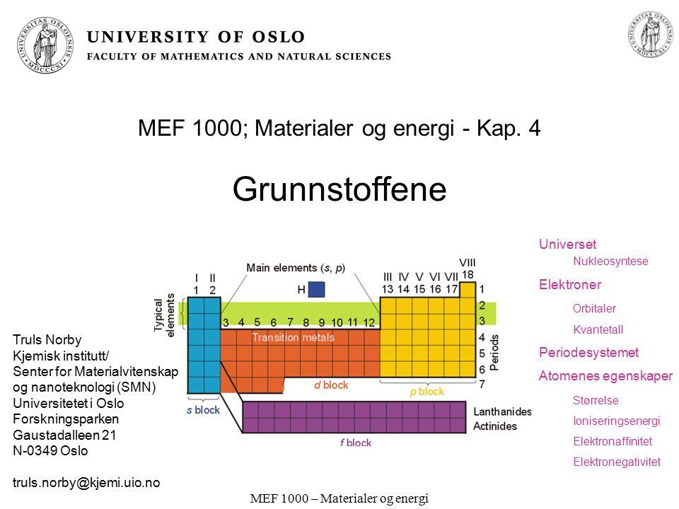 MEF 1000 – Materialer og energi Størrelse -radier For atomære størrelser bruker vi 1Å (ångstrøm) = 10 -10 m 1 nm = 10 -9 m = 10 Å 1 pm = 10 -12 m = 0.01 Å Atomradius er ikke en absolutt størrelse på et fritt atom – den defineres som halve avstanden mellom atomkjerner i en binding.