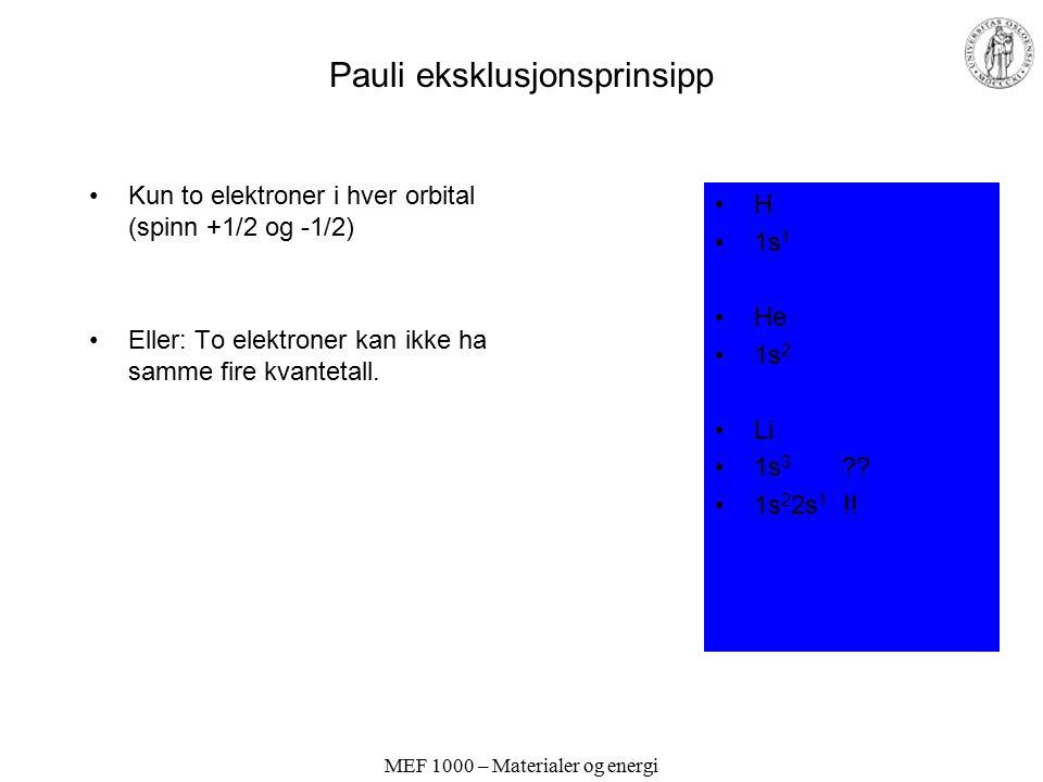 MEF 1000 – Materialer og energi Orbital-approksimasjonen Fler enn ett elektron: –Elektronene påvirker hverandre –Orbitalene endres i forhold til i ett