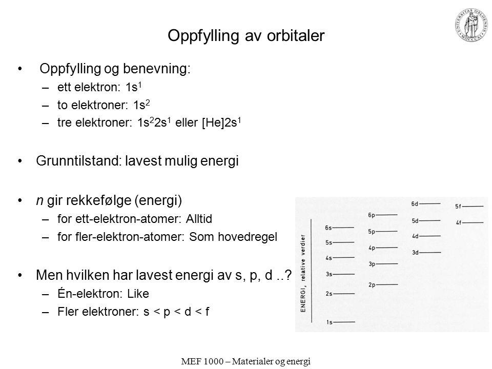 MEF 1000 – Materialer og energi Pauli eksklusjonsprinsipp Kun to elektroner i hver orbital (spinn +1/2 og -1/2) Eller: To elektroner kan ikke ha samme fire kvantetall.