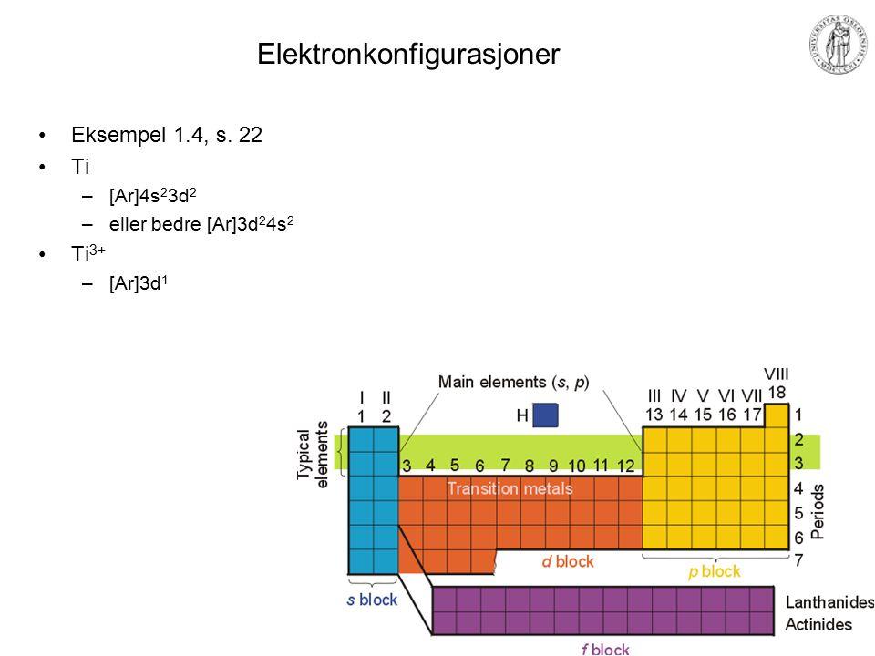 MEF 1000 – Materialer og energi Oppfylling av orbitaler Hunds regel –Orbitaler med samme energi oppfylles først med ett elektron i hver, med paralelle spinn Forklares med romlig frastøtning: Parallelle spinn tillegges kvantemekanisk spinn- korrelasjon (mindre frastøtning) –Eksempel: karbon, C 1s 2 2s 2 2p x 1 2p y 1 = 1s 2 2s 2 2p 2 = [He]2s 2 2p 2