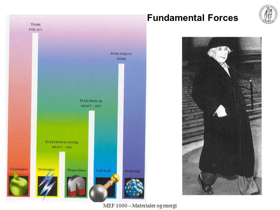 MEF 1000 – Materialer og energi Atomenes indre struktur III Elektronet har negativ ladning. En liten tung positiv kjerne. Ernst Rutherford (1911)