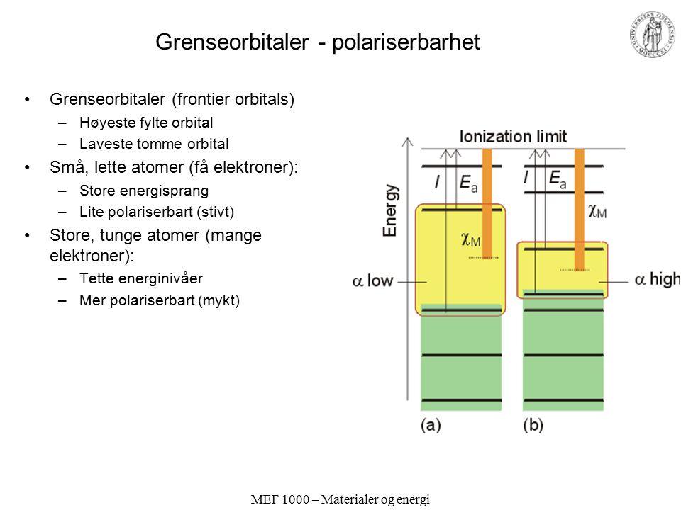 MEF 1000 – Materialer og energi Periodiske egenskaper