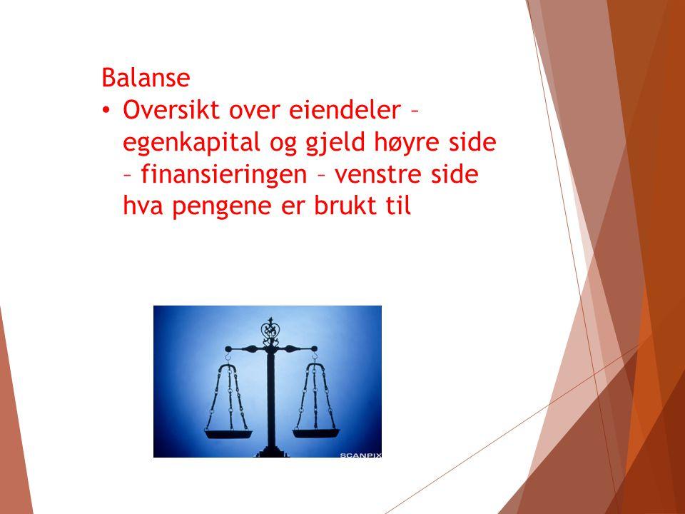 Åpningsbalanse Balansen ved oppstart av et nytt år Oversikt hvordan det har gått for bedriften fra den startet - her ser vi verdien av eiendeler, gjeld og egenkapital som bedriften samlet har.