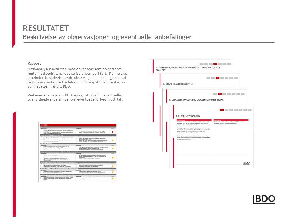RESULTATET Beskrivelse av observasjoner og eventuelle anbefalinger Rapport Risikoanalysen avsluttes med en rapport som presenteres i møte med bedriftens ledelse (se eksempel i fig.).