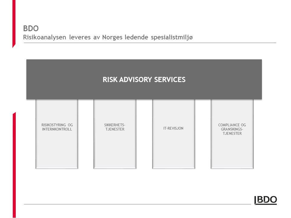 BDO Risikoanalysen leveres av Norges ledende spesialistmiljø RISIKOSTYRING OG INTERNKONTROLL COMPLIANCE OG GRANSKINGS- TJENESTER IT-REVISJON SIKKERHETS- TJENESTER RISK ADVISORY SERVICES