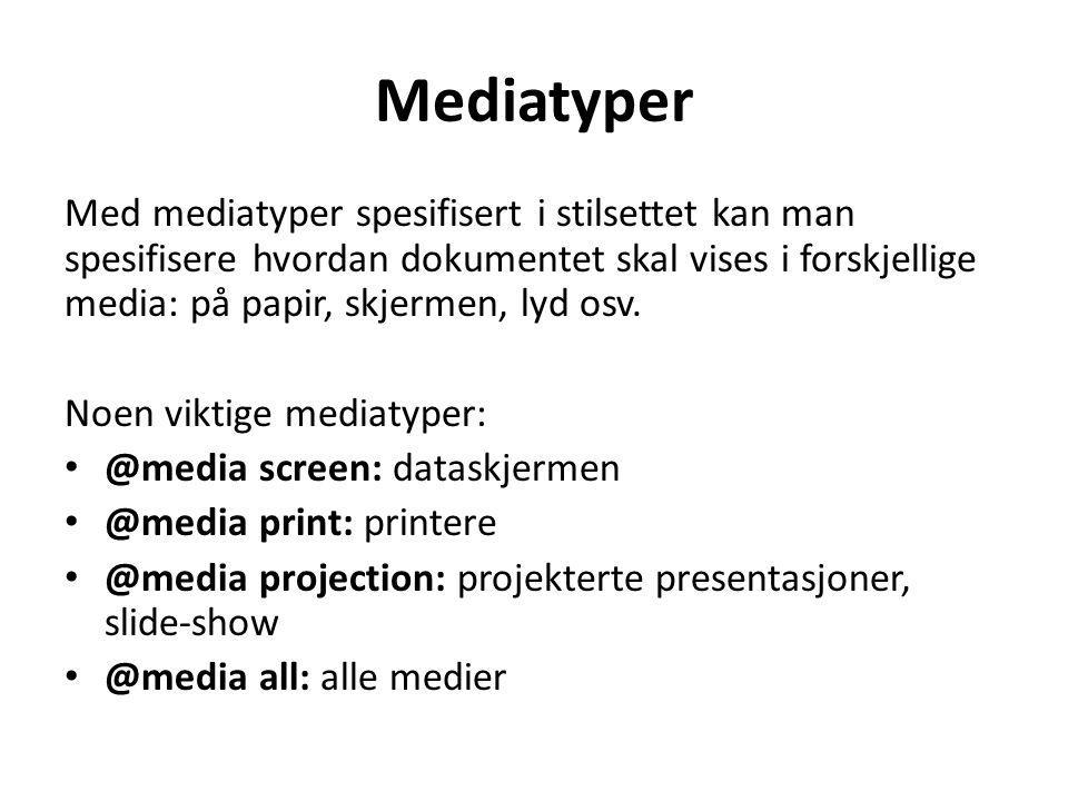Mediatyper Med mediatyper spesifisert i stilsettet kan man spesifisere hvordan dokumentet skal vises i forskjellige media: på papir, skjermen, lyd osv.
