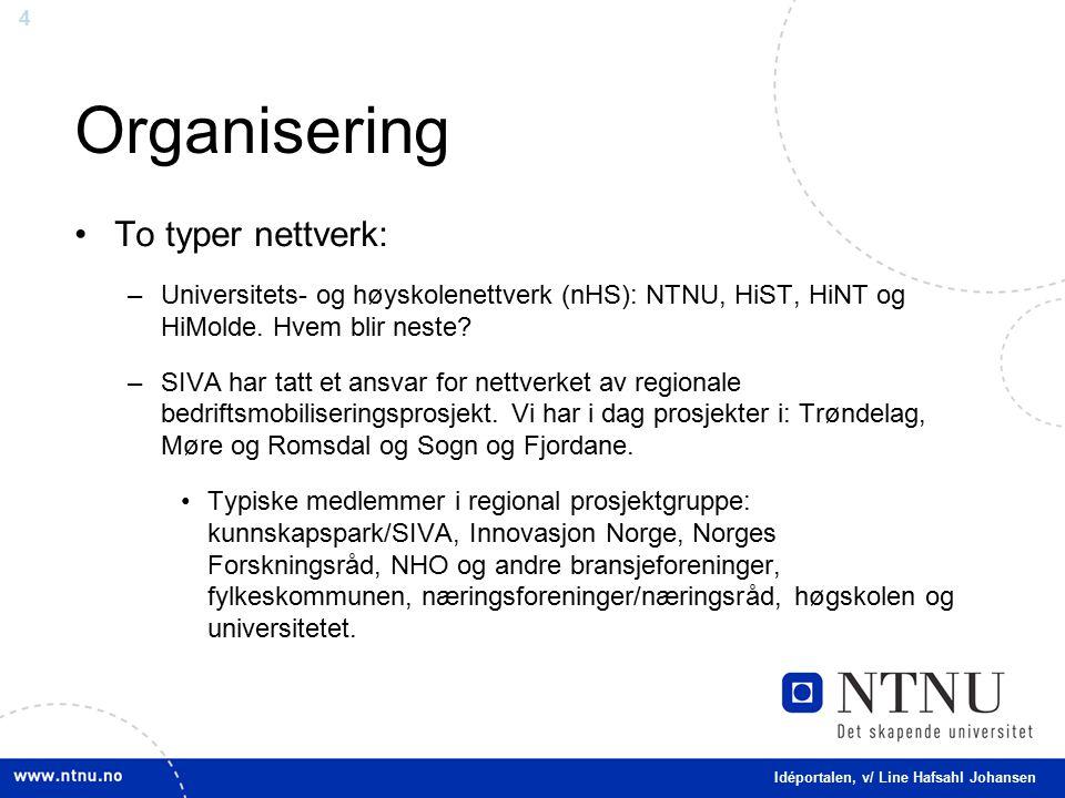 4 Organisering To typer nettverk: –Universitets- og høyskolenettverk (nHS): NTNU, HiST, HiNT og HiMolde.