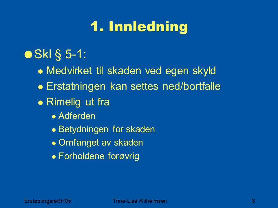 Erstatningsrett H05Trine-Lise Wilhelmsen24 4.3 i særlige tilfelle er rimelig at den skadelidte bærer..  Samme momenter  Annen vektlegging  Lempes selv om ansvaret ikke urimelig tyngende  Særlig betydning Omfattende skader Skadelidte særlig utsatt for skade