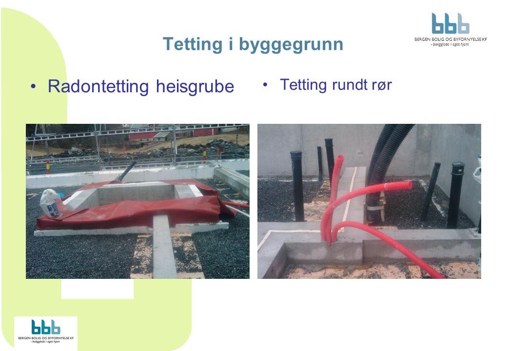 Tetting i byggegrunn Radontetting heisgrube Tetting rundt rør