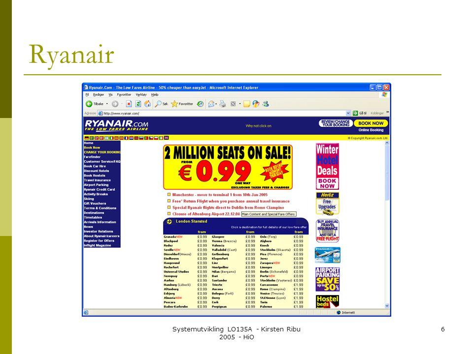 Systemutvikling LO135A - Kirsten Ribu 2005 - HiO 6 Ryanair
