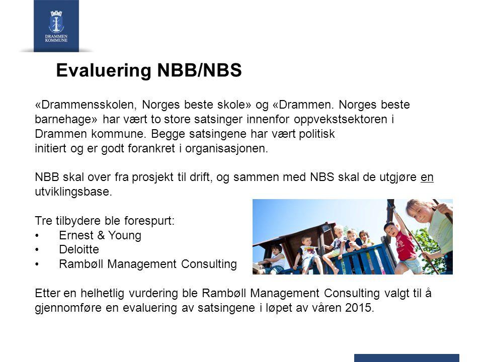 Evaluering NBB/NBS «Drammensskolen, Norges beste skole» og «Drammen. Norges beste barnehage» har vært to store satsinger innenfor oppvekstsektoren i D