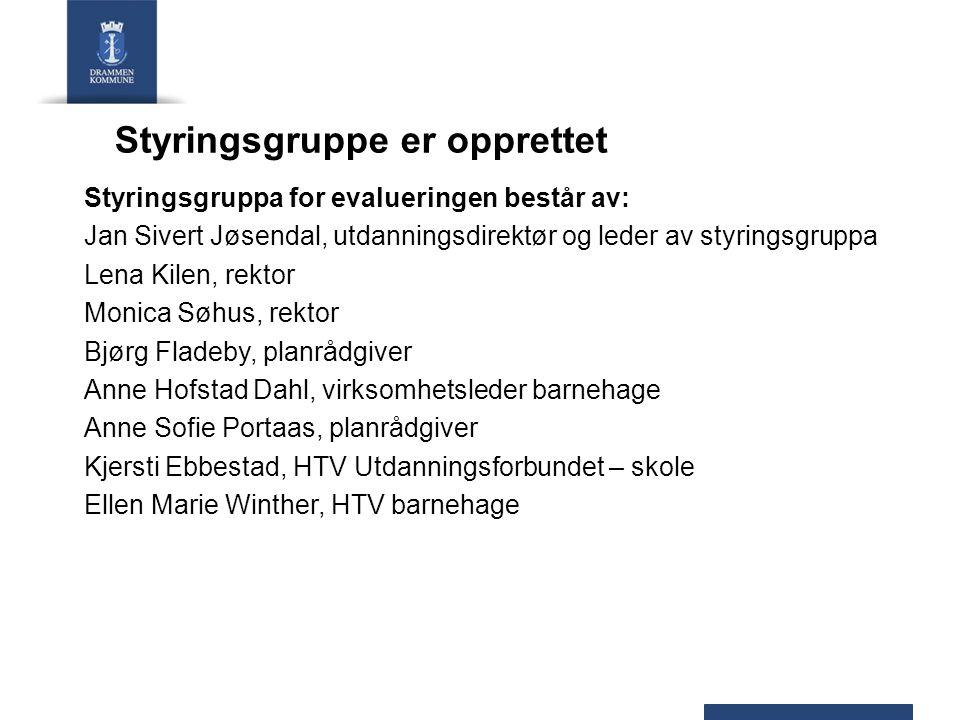 Styringsgruppe er opprettet Styringsgruppa for evalueringen består av: Jan Sivert Jøsendal, utdanningsdirektør og leder av styringsgruppa Lena Kilen,