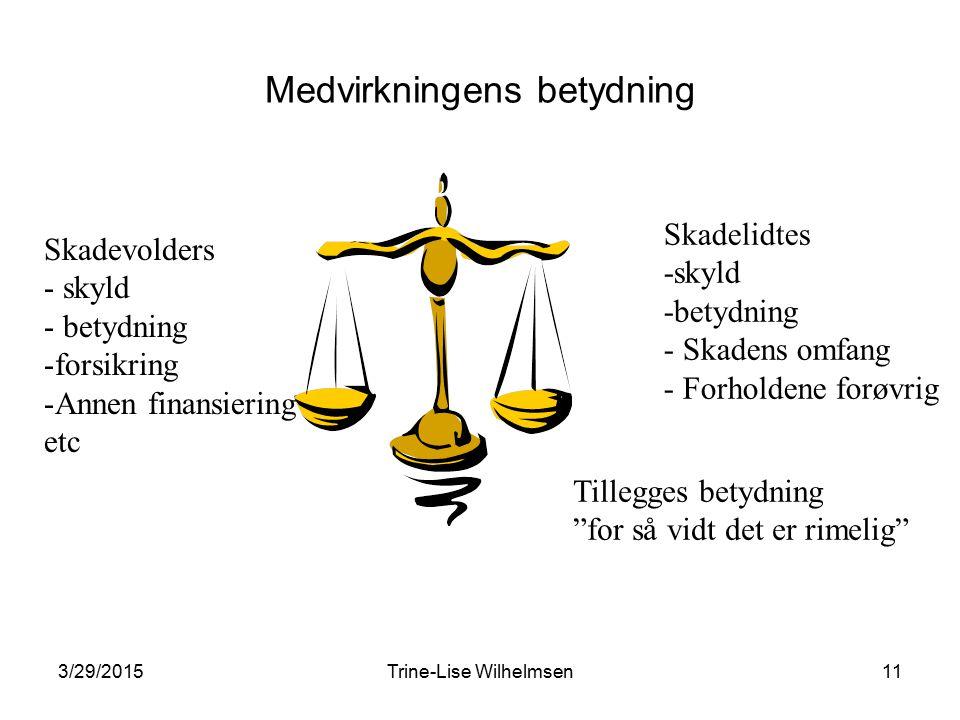 3/29/2015Trine-Lise Wilhelmsen11 Medvirkningens betydning Skadevolders - skyld - betydning -forsikring -Annen finansiering etc Skadelidtes -skyld -bet