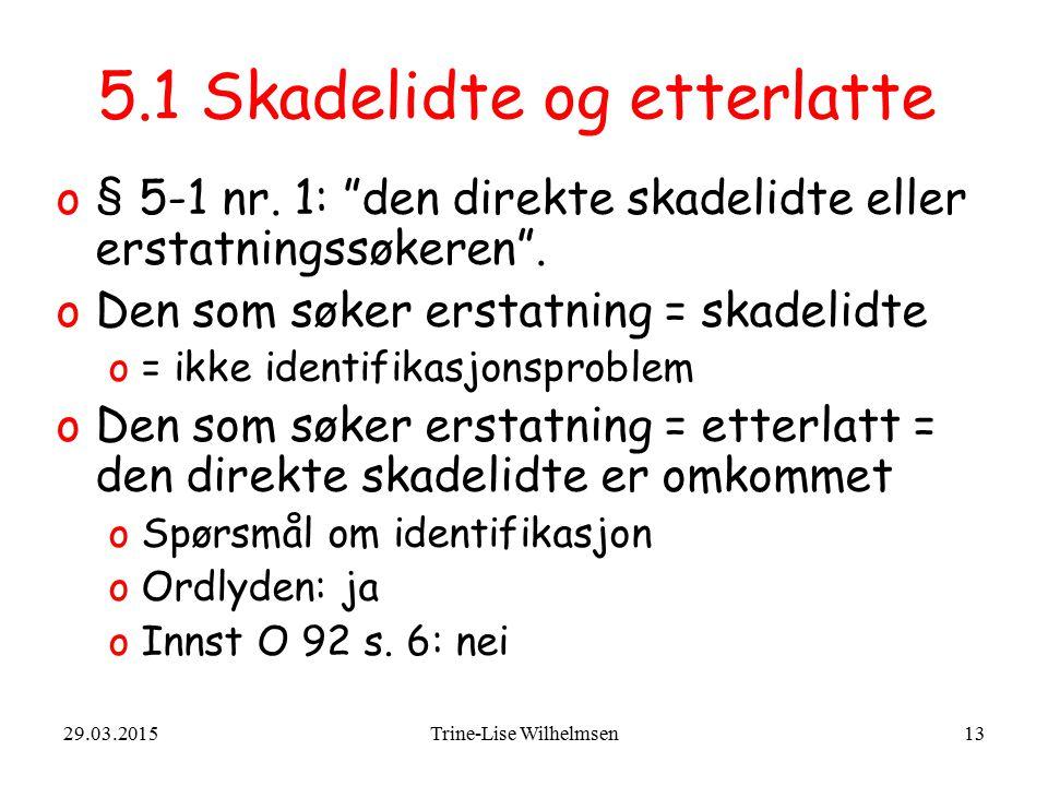 """29.03.2015Trine-Lise Wilhelmsen13 5.1 Skadelidte og etterlatte o§ 5-1 nr. 1: """"den direkte skadelidte eller erstatningssøkeren"""". oDen som søker erstatn"""