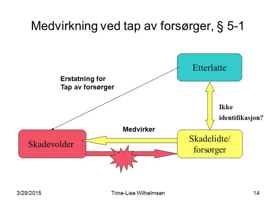 3/29/2015Trine-Lise Wilhelmsen14 Medvirkning ved tap av forsørger, § 5-1 Skadevolder Skadelidte/ forsørger Etterlatte Ikke identifikasjon.