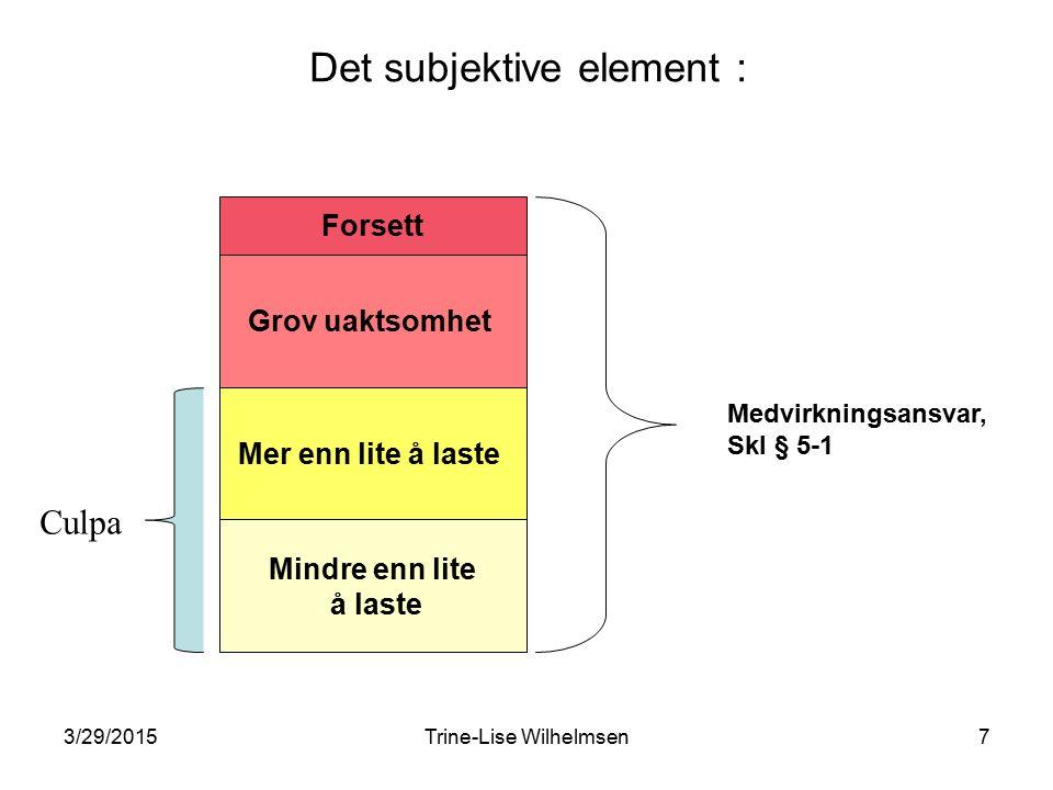 3/29/2015Trine-Lise Wilhelmsen7 Det subjektive element : Grov uaktsomhet Mer enn lite å laste Mindre enn lite å laste Forsett Medvirkningsansvar, Skl § 5-1 Culpa