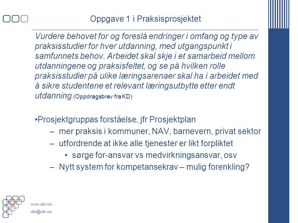 www.uhr.no uhr@uhr.no Oppgave 1 i Praksisprosjektet Vurdere behovet for og foreslå endringer i omfang og type av praksisstudier for hver utdanning, me