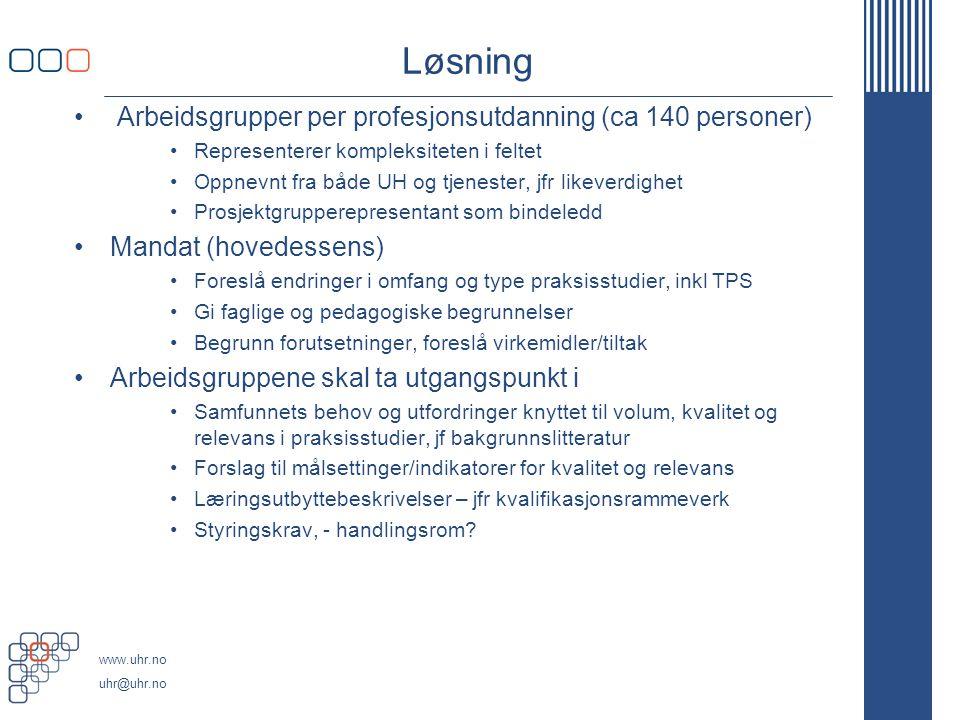 www.uhr.no uhr@uhr.no Løsning Arbeidsgrupper per profesjonsutdanning (ca 140 personer) Representerer kompleksiteten i feltet Oppnevnt fra både UH og t