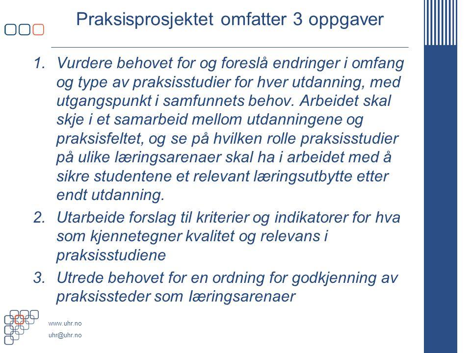 www.uhr.no uhr@uhr.no UHR/ Profesjons- rådet for farmasi: Prosjekt 3+2-modell for farmasi- utdanningen i Norge Praksis- prosjektet