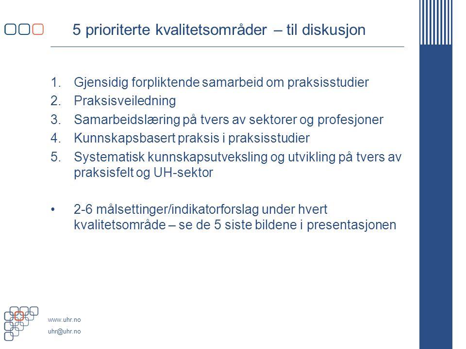 www.uhr.no uhr@uhr.no 5 prioriterte kvalitetsområder – til diskusjon 1.Gjensidig forpliktende samarbeid om praksisstudier 2.Praksisveiledning 3.Samarb