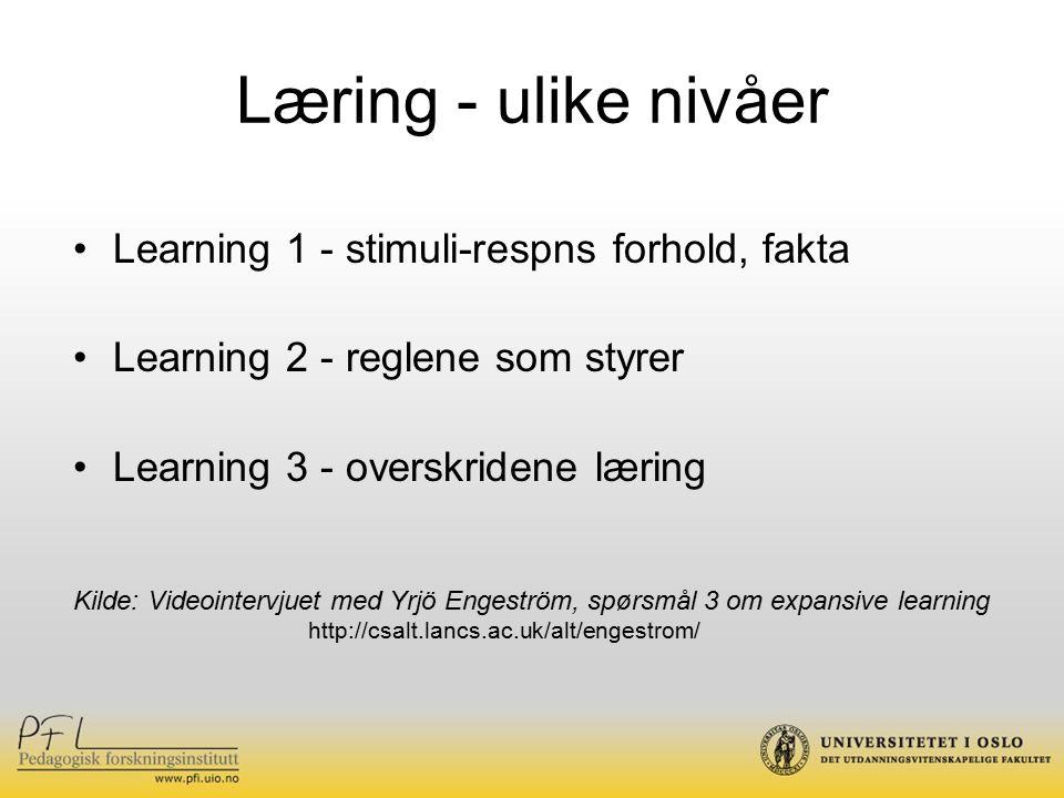 Læring - ulike nivåer Learning 1 - stimuli-respns forhold, fakta Learning 2 - reglene som styrer Learning 3 - overskridene læring Kilde: Videointervjuet med Yrjö Engeström, spørsmål 3 om expansive learning http://csalt.lancs.ac.uk/alt/engestrom/