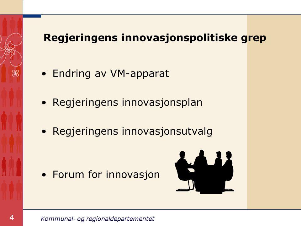 Kommunal- og regionaldepartementet 5 Nye virkemidler for innovasjon Styrket FoU-innsats Nye såkornfond i 2004 og 2005 Centers of Expertise (CoE)