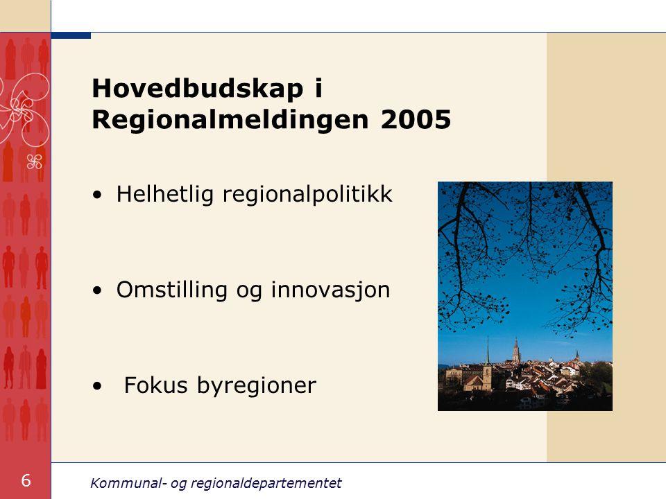 Kommunal- og regionaldepartementet 7 Befolkningsendring 1990–2003, prosent i bo- og arbeidsmarkedsregioner, etter folketall i største sentra