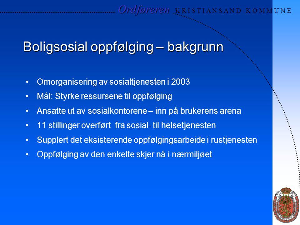 Ordføreren Ordføreren K R I S T I A N S A N D K O M M U N E Boligsosial oppfølging – bakgrunn Omorganisering av sosialtjenesten i 2003 Mål: Styrke res