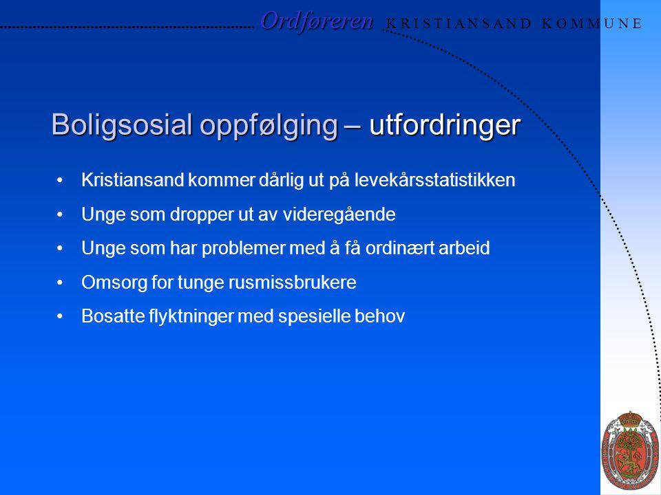 Boligsosial oppfølging – utfordringer Kristiansand kommer dårlig ut på levekårsstatistikken Unge som dropper ut av videregående Unge som har problemer