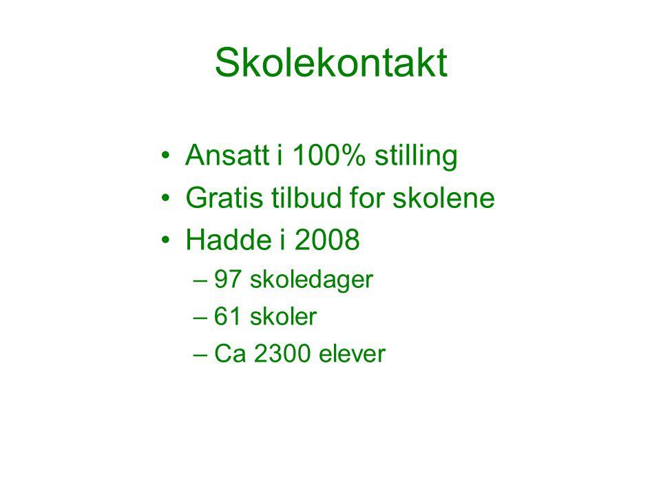 Skolekontakt Ansatt i 100% stilling Gratis tilbud for skolene Hadde i 2008 –97 skoledager –61 skoler –Ca 2300 elever
