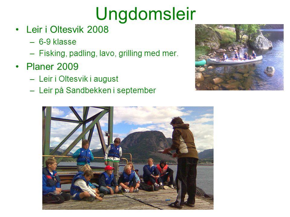 Ungdomsleir Leir i Oltesvik 2008 –6-9 klasse –Fisking, padling, lavo, grilling med mer. Planer 2009 –Leir i Oltesvik i august –Leir på Sandbekken i se