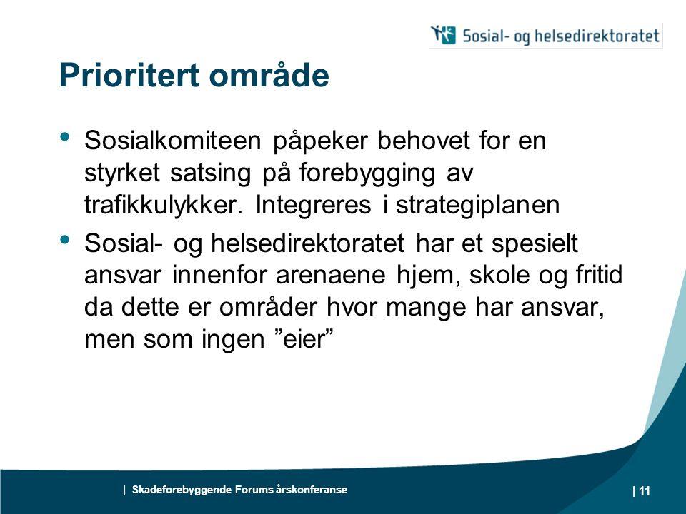 | Skadeforebyggende Forums årskonferanse | 11 Prioritert område Sosialkomiteen påpeker behovet for en styrket satsing på forebygging av trafikkulykker.