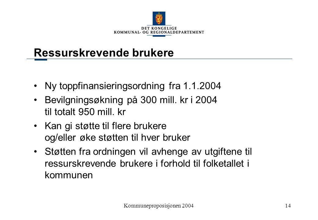 Kommuneproposisjonen 200414 Ressurskrevende brukere Ny toppfinansieringsordning fra 1.1.2004 Bevilgningsøkning på 300 mill.
