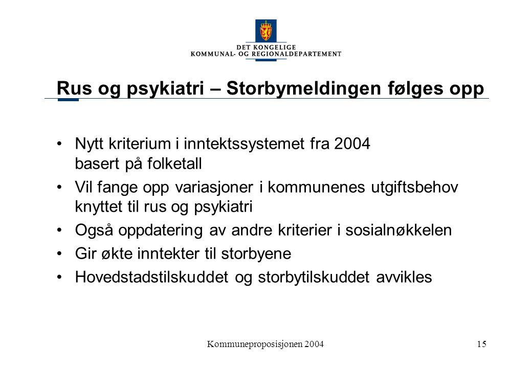 Kommuneproposisjonen 200415 Rus og psykiatri – Storbymeldingen følges opp Nytt kriterium i inntektssystemet fra 2004 basert på folketall Vil fange opp