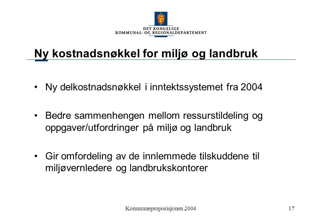 Kommuneproposisjonen 200417 Ny kostnadsnøkkel for miljø og landbruk Ny delkostnadsnøkkel i inntektssystemet fra 2004 Bedre sammenhengen mellom ressurs