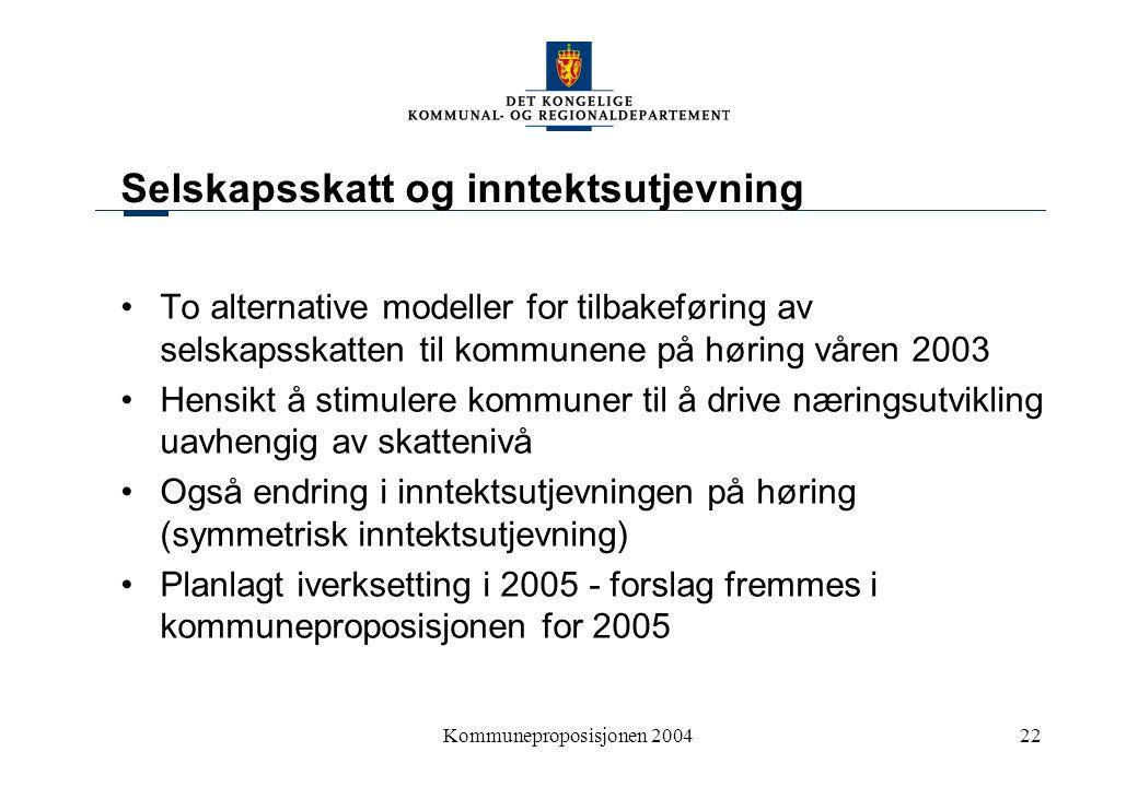 Kommuneproposisjonen 200422 Selskapsskatt og inntektsutjevning To alternative modeller for tilbakeføring av selskapsskatten til kommunene på høring vå