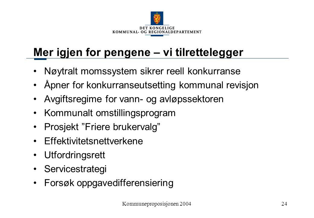 Kommuneproposisjonen 200424 Mer igjen for pengene – vi tilrettelegger Nøytralt momssystem sikrer reell konkurranse Åpner for konkurranseutsetting komm