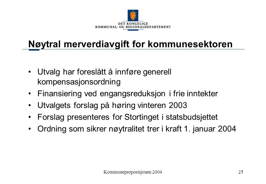 Kommuneproposisjonen 200425 Nøytral merverdiavgift for kommunesektoren Utvalg har foreslått å innføre generell kompensasjonsordning Finansiering ved e