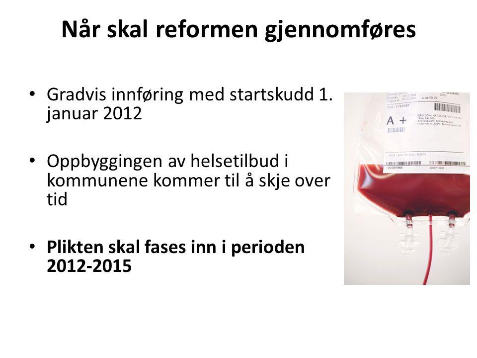 Når skal reformen gjennomføres Gradvis innføring med startskudd 1.