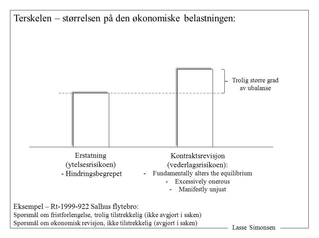 Lasse Simonsen Terskelen – størrelsen på den økonomiske belastningen: Erstatning (ytelsesrisikoen) - Hindringsbegrepet Kontraktsrevisjon (vederlagsrisikoen): -Fundamentally alters the equilibrium -Excessively onerous -Manifestly unjust Trolig større grad av ubalanse Eksempel – Rt-1999-922 Salhus flytebro: Spørsmål om fristforlengelse, trolig tilstrekkelig (ikke avgjort i saken) Spørsmål om økonomisk revisjon, ikke tilstrekkelig (avgjort i saken)