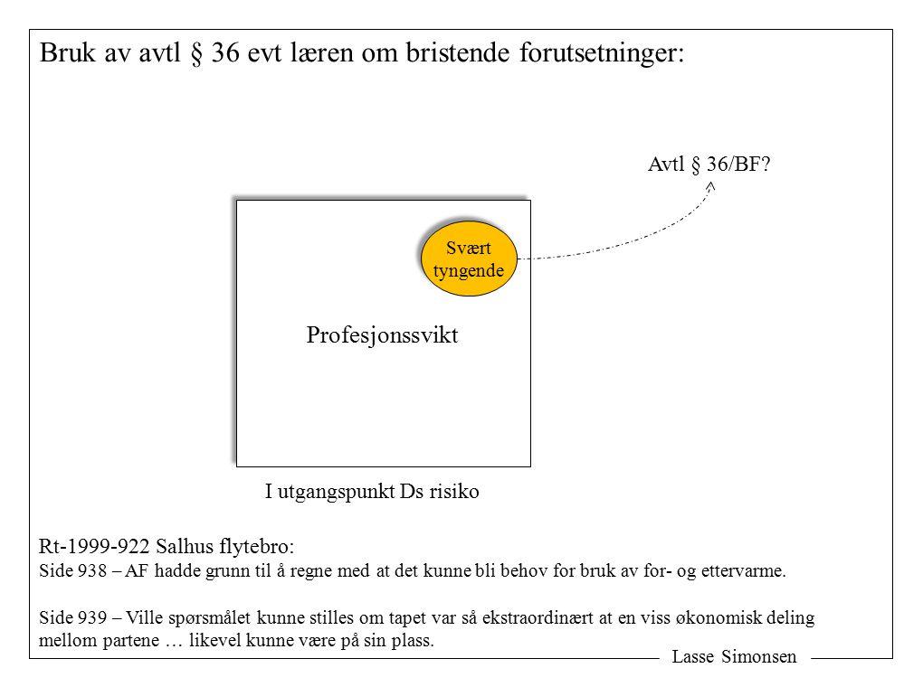 Lasse Simonsen Bruk av avtl § 36 evt læren om bristende forutsetninger: Profesjonssvikt Svært tyngende Svært tyngende Avtl § 36/BF.
