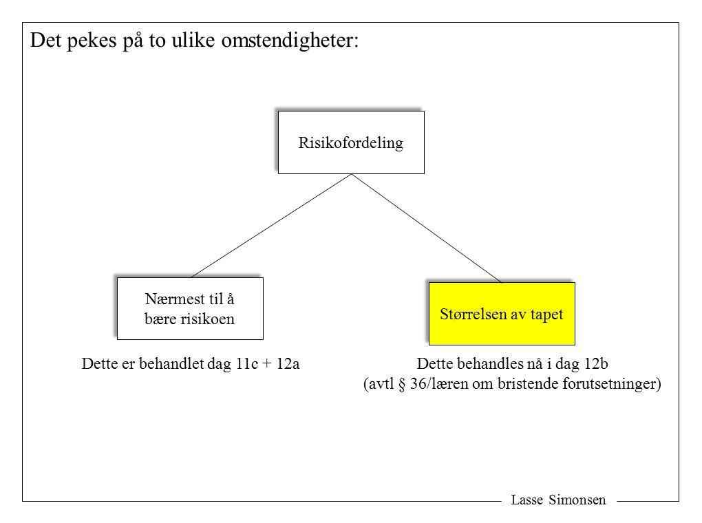 Lasse Simonsen Det pekes på to ulike omstendigheter: Risikofordeling Nærmest til å bære risikoen Nærmest til å bære risikoen Størrelsen av tapet Dette er behandlet dag 11c + 12aDette behandles nå i dag 12b (avtl § 36/læren om bristende forutsetninger)
