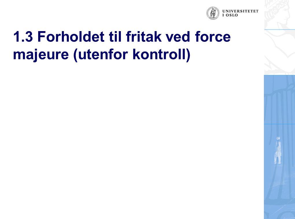 1.3 Forholdet til fritak ved force majeure (utenfor kontroll)