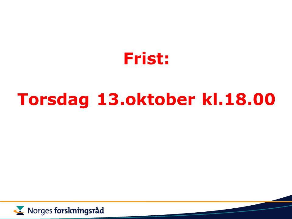Frist: Torsdag 13.oktober kl.18.00