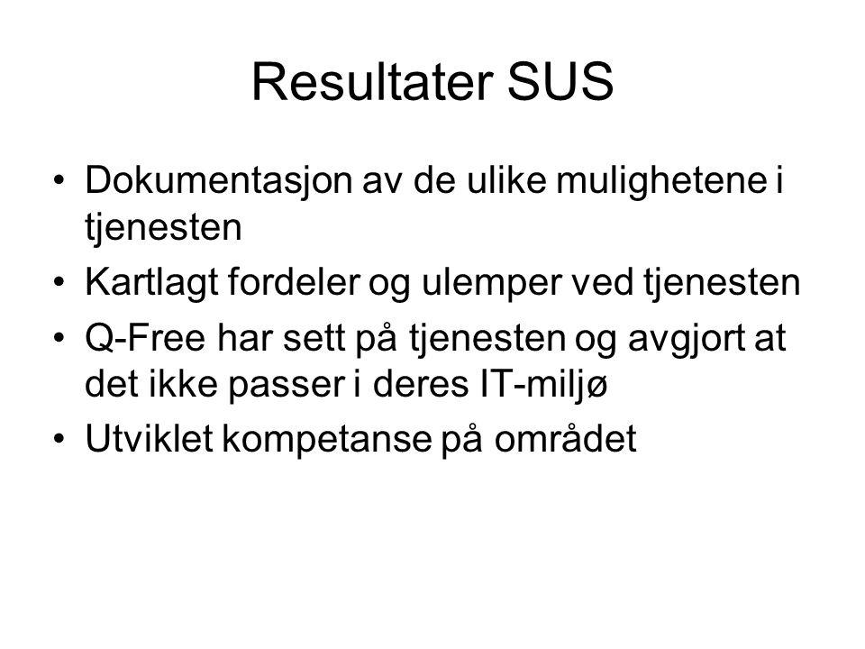 Resultater SUS Dokumentasjon av de ulike mulighetene i tjenesten Kartlagt fordeler og ulemper ved tjenesten Q-Free har sett på tjenesten og avgjort at