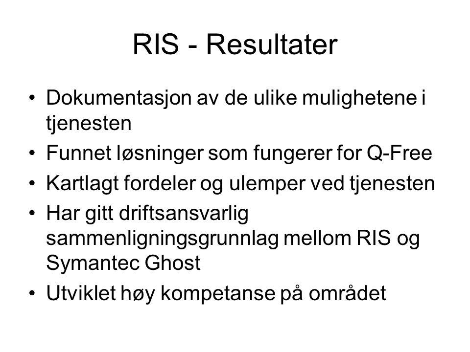 RIS - Resultater Dokumentasjon av de ulike mulighetene i tjenesten Funnet løsninger som fungerer for Q-Free Kartlagt fordeler og ulemper ved tjenesten