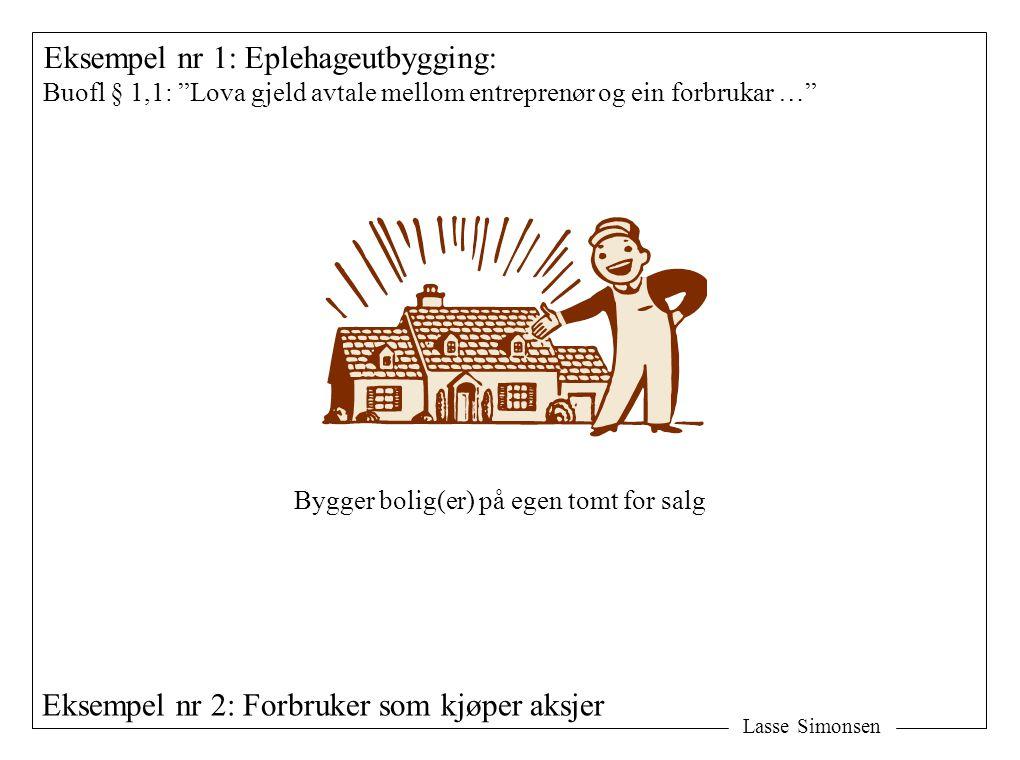 """Lasse Simonsen Eksempel nr 1: Eplehageutbygging: Buofl § 1,1: """"Lova gjeld avtale mellom entreprenør og ein forbrukar …"""" Bygger bolig(er) på egen tomt"""